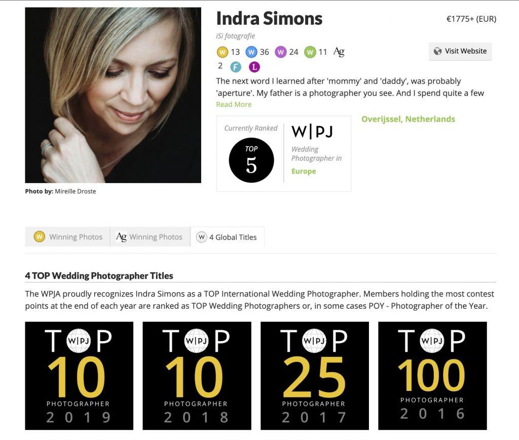 WPJA top 10 - iSi weddings netherlands